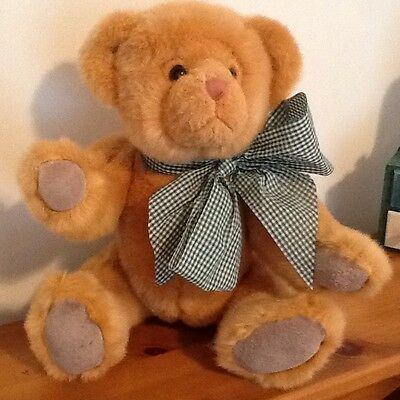 """15.5"""" Teddy Bear by Russ Berrie Large Plush 5-Way Jointed with Green Gingham Bow"""