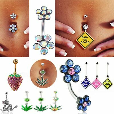Pendant Rhinestone Belly Jewelry Navel Ring Body Piercing Surgical Steel