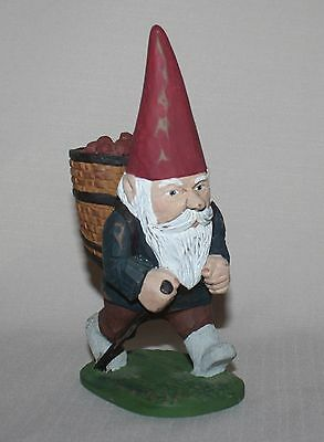 """6.75"""" Hiking Gnome 1992 Figurine Apples Backpack Signed Dawn Numbered 165/950"""