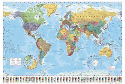 "Map of the World with country flags  Giant Size wall chart 39""x55"" 140 X 100cm"