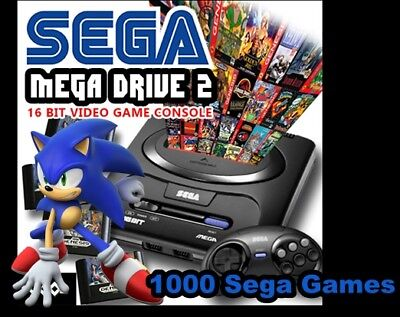 1K Games SEGA Megadrive Genesis Game Console  and 2 wired controllers. AP101