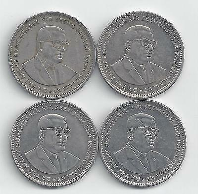 4 DIFFERENT 1 RUPEE COINS from MAURITIUS (1987, 2004, 2009 & 2010)