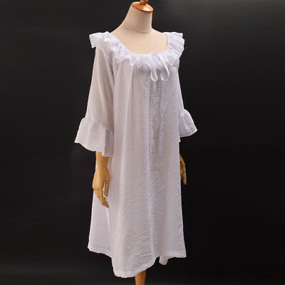Ruffled Tiered Dress White Renaissance Irish Medieval Costume Classic Chemise