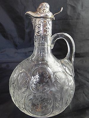 Antique Sterling Silver Mounted Intaglio Cut Claret Jug