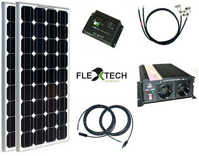 200 watt camping solaranlage 12 volt set mit. Black Bedroom Furniture Sets. Home Design Ideas