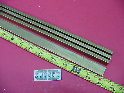 "4 Pieces 1/4"" x 3/4"" C360 BRASS FLAT BAR 14"" long Solid .25""x .75 Mill Stock H02"