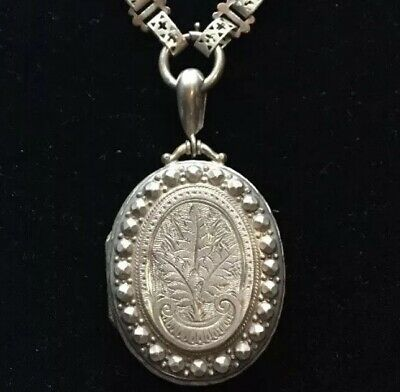 Pretty Antique Victorian White Metal Ornate Locket And Collar Set Large
