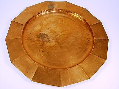 Arts And Crafts Vintage Hammered And Etched Hand Made Copper Tray
