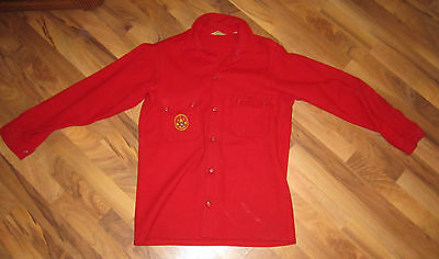 Nice Original Boy Scout BSA Red Wool Jacket Coat Size Large 42 With Patch 553
