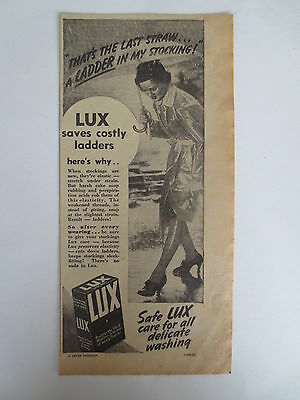 Vintage advertising original 1939 Australian ad LUX WASHING SOAP laundry washing
