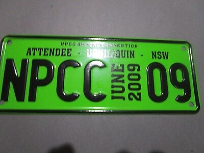 """Number Plate """" NSW Deniliquin - 2009 NPCC  Convention Attendee Number Plate"""
