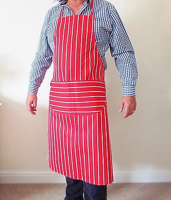 Red &  White Professional Quality Chef Butchers Bistro Cooks BBQ Apron UK made