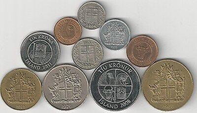 10 DIFFERENT COINS from ICELAND (10 TYPES/6 DENOMINATIONS)