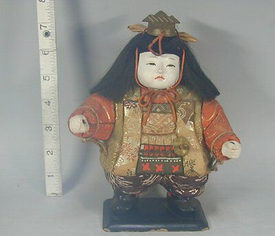 Kimekomi Gosho Doll #769 Vtg Japanese Gofun Silk Samurai Boy Child Ningyo Japan