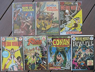 Sword & jungle 1970-82: BUY 1 GET 13 FREE! Conan Korak Weird Worlds; F- 5.5 ave!