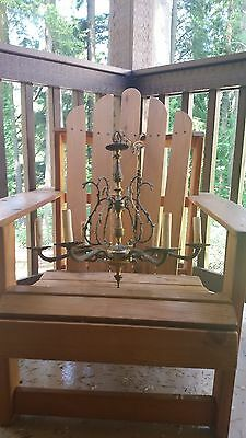Lovely Antique Brass Crystal 6 lights Vintage French Chandelier Old