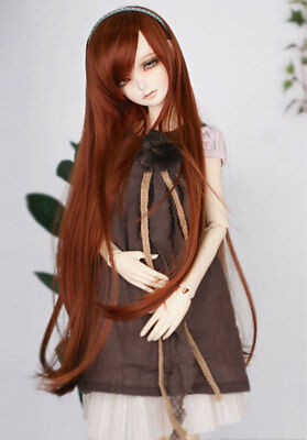 "7-8"" 1/4 BJD Long Straight Light Red Brown Wig LUTS Doll SD DZ DOD MSD Hair UAL#"
