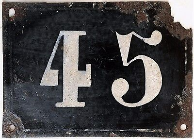 Large old black French house number 45 door gate plate plaque enamel metal sign