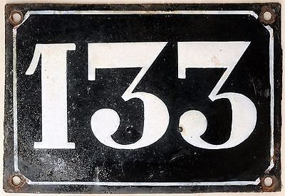 Large old black French house number 133 door gate plate plaque enamel metal sign