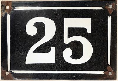 Large old black French house number 25 door gate plate plaque enamel metal sign