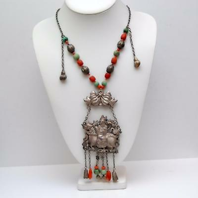 ANTIQUE CHINESE Qing Dynasty Kylin Silver Necklace w/ Turquoise_Coral_Carnelian