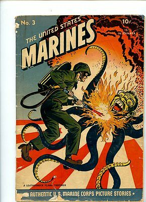 United States Marines #3 (1944) Rare Tojo Flame Thrower Cover GD+