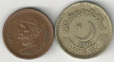 2 DIFFERENT COINS from PAKISTAN - 1 & 2 RUPEE (BOTH DATING 2002)