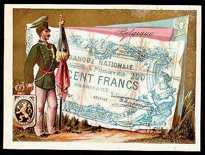 Old Label -  Belgian Military , Coat of Arms and 100 Francs Paper Money 1870s