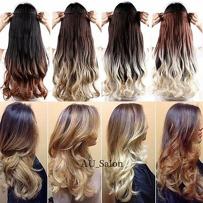 One Piece Clip in Ombre Hair Extensions Curly 23inch Brown Blonde Black as Human