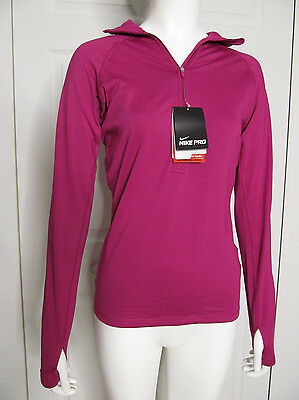 *NEW Nike Pro 1/2 Zip Training Top Hyperwarm Pink Berry Dri-fit Retails $60 Sz S