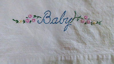 "Antique Vintage Baby Pillow Case with Embroidered ""Baby"""