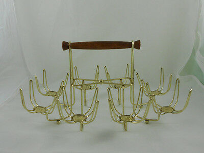 Mid Century Gold Roly Poly Drink Caddy Carrier Holds 8 Glasses