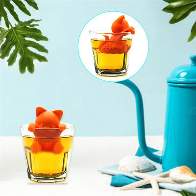 Silicone Cute Kitten Shape Tea Leaf Herbal Strainer Filter Infuser Bag Tea Maker