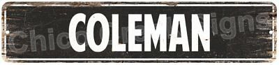 COLEMAN MAN CAVE Street Rustic Chic Metal Sign Home man cave Decor Gift 4180383