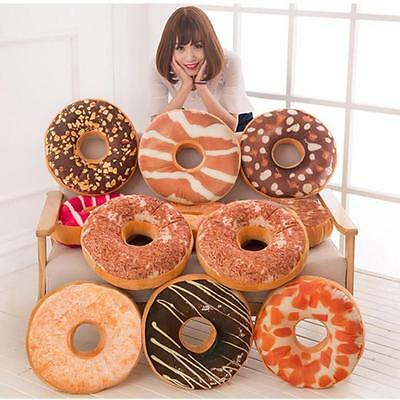 Soft Plush Pillow Stuffed Seat Pad Sweet Donut Foods Cushion Cover Case Toys US
