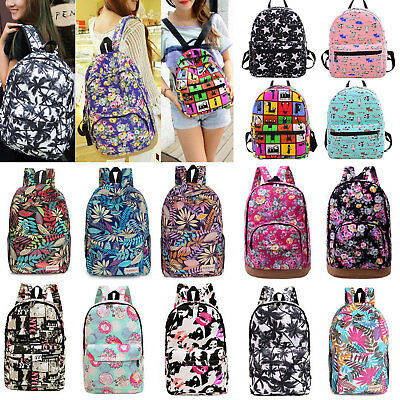 Women Girls Floral Canvas Shoulder School Bag Backpack Travel Satchel Rucksack