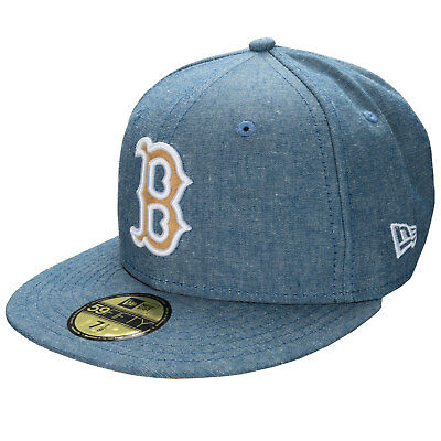 New Era Mens Chambray Boston Red Sox 59Fifty Cap In Blue - Chambray Detail