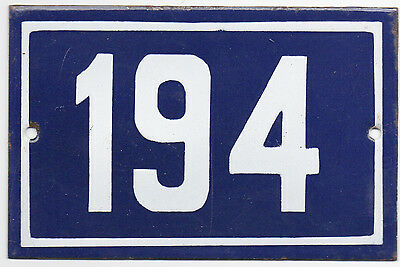 Old blue French house number 194 door gate plate plaque enamel metal sign steel