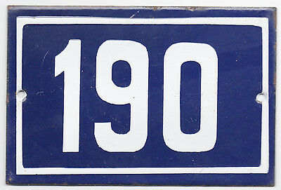 Old blue French house number 190 door gate plate plaque enamel metal sign steel