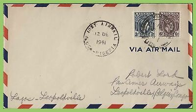 Nigeria 1941 KGVI PAA First Airmail cover, Lagos to Leopoldville, Congo