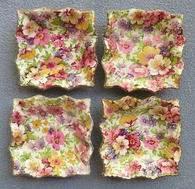 FOUR James Kent DuBarry Floral Chintz Individual Nut Dishes