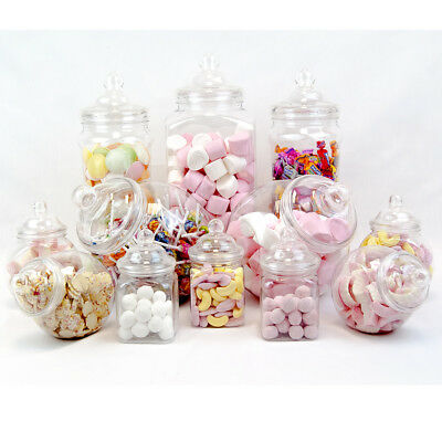 12 Vintage Retro Plastic Jars Candy Buffet Sweet Shop Wedding Kids Party Kit