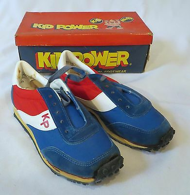 Vintage Kid Power Sneakers Shoes Blue Suede Dead Stock 3 1/2
