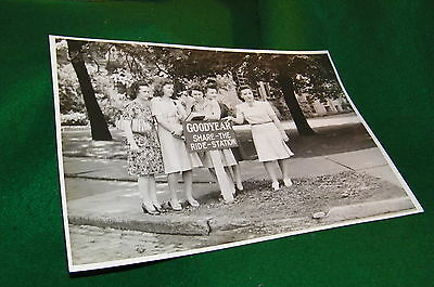 "WW2 era GOODYEAR tire ""share a ride"" sign with Gals waiting for ride,  ROSIE ?"