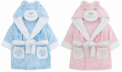 Childrens / Toddlers Novelty Teddy Bear Soft Fleece Dressing Gown ~ 6-24 Months