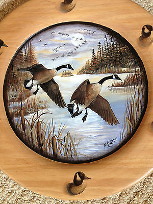 """Canada Geese""  Scene on a Northern Lake ~ 12"" Wooden Plate, by Nancy Luloff"