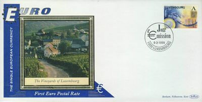 Luxembourg Vineyards EURO currency 1st postal stamps 1999 BENHAM silk cover r...
