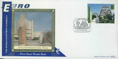 Vienna Int'l Centre EURO currency 1st postal stamps JAPAN-WELTERBE2001 BENHAM...