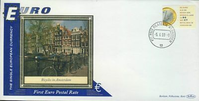 Amsterdam Bicycles EURO currency 1st postal stamps 1999 BENHAM silk cover ref...