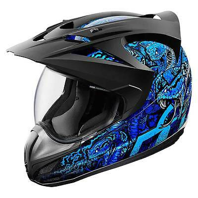 Icon Variant Cottonmouth Blue Full Face Dual Purpose Motorcycle Adventure Helmet